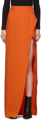 Thierry Mugler Orange High Slit Skirt