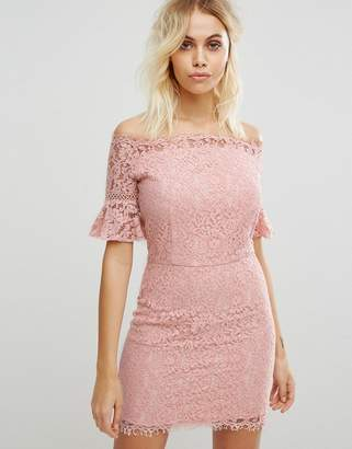 Liquorish Off Shoulder Lace Dress-Pink