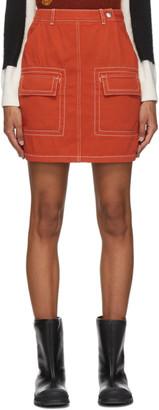 Kenzo Orange Straight Miniskirt