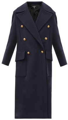 Balmain Oversized Double-breasted Wool-blend Coat - Navy