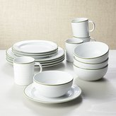 Crate & Barrel Roulette Green Band 16-Piece Dinnerware Set