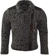 Ikks Grey Print Jersey Biker Jacket