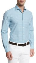 Ermenegildo Zegna Deco Check Long-Sleeve Sport Shirt, Teal