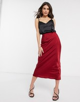 Asos Design DESIGN fluted bias midi skirt in satin