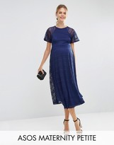Asos PETITE Midi Lace Dress with Flutter Sleeve