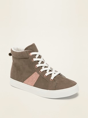 Old Navy Faux-Suede Glitter-Stripe High-Top Sneakers for Girls