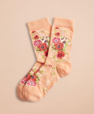 Brooks Brothers Floral-Pattern Socks