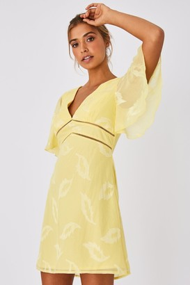 Little Mistress Tandi Lemon Zest Textured Leaf Shift Dress