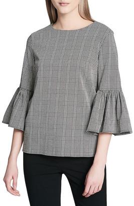 Calvin Klein Plaid Bell-Sleeve Blouse