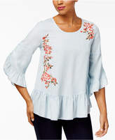 Style&Co. Style & Co Denim Garden Embroidered Peplum Top, Created for Macy's