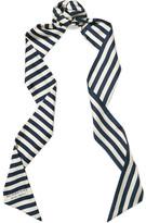 Burberry Striped Silk-twill Scarf - Navy