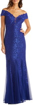 Morgan & Co. Lace Off the Shoulder Trumpet Gown