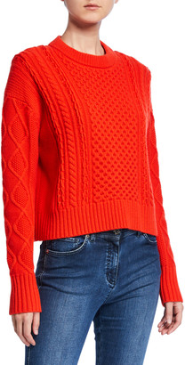 St. John Aran Cable Knit Drop-Shoulder Sweater