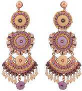 Chlorella Embroidered Rose Gold Drop Earrings
