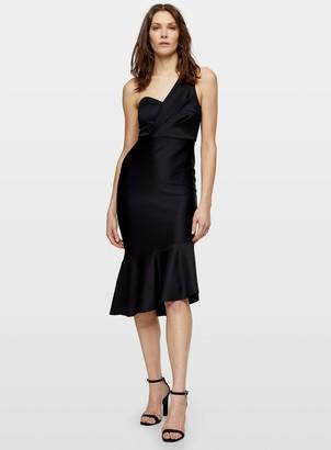 Miss Selfridge Black One Shoulder Scuba Midi Dress