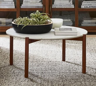 """Pottery Barn Bloomquist 37.5"""" Round Marble Coffee Table"""