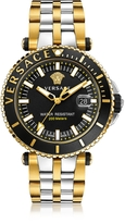 Versace V-Race Diver Stainless Steel and PVD Gold Plated Men's Watch w/Black Dial