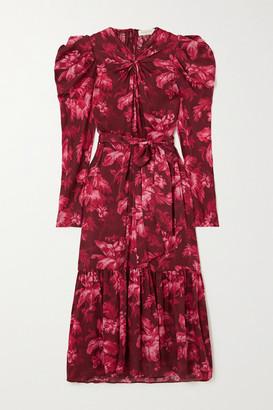 Zimmermann Ladybeetle Gathered Floral-print Silk-chiffon Midi Dress - Burgundy