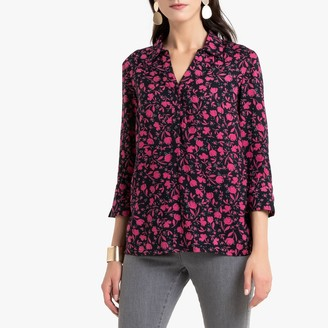 Anne Weyburn Floral Print Blouse with 3/4 Length Sleeves