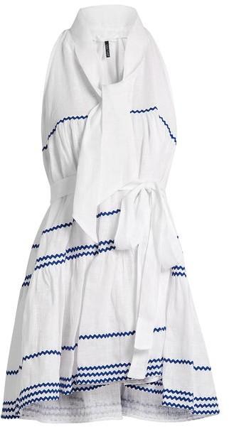 Lisa Marie Fernandez Ric Rac Trimmed Linen Mini Dress - Womens - White Multi