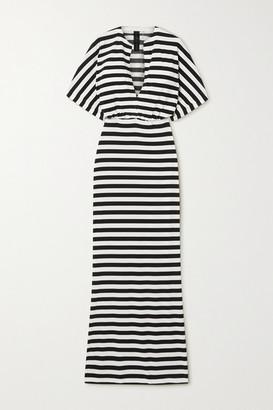 Norma Kamali Obie Striped Stretch-jersey Maxi Dress - White