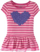 Design History Heart Trim Striped Top (Toddler/Kid) - Mod Pink-6x