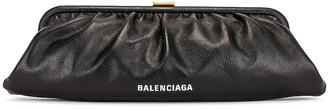 Balenciaga XL Cloud Clutch with Strap in Black | FWRD