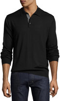 Neiman Marcus Long-Sleeve Wool-Blend Polo Sweater, Black