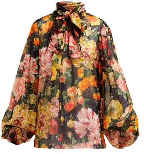 Dolce & Gabbana Floral Print Silk Chiffon Tie Neck Blouse - Womens - Black Multi