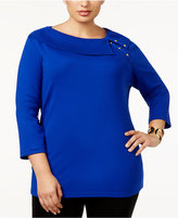 Karen Scott Plus Size Cotton Shawl-Collar Top, Created for Macy's