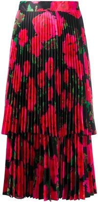 Richard Quinn Pleated Floral Print Silk Skirt