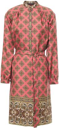 Etro Belted Printed Silk-twill Dress