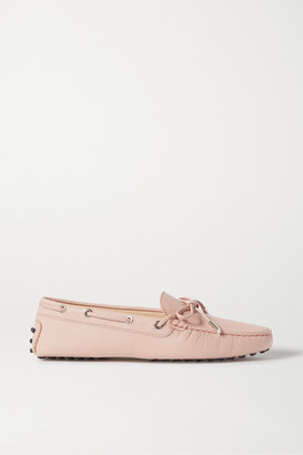 Tod's City Gommino Lizard-effect Leather Loafers - Pastel pink