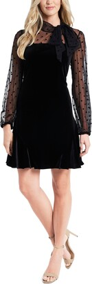 CeCe Mixed Media Velvet Long Sleeve Minidress