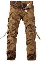 Feoya Men's Casual Cotton Wild Cargo Pants Multiple Pockets Outdoors Work Wear