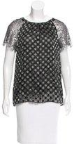 Peter Som Polka Dot Short Sleeve Blouse