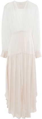 Sandro Live Asymmetric Chiffon-paneled Gathered Satin Maxi Dress