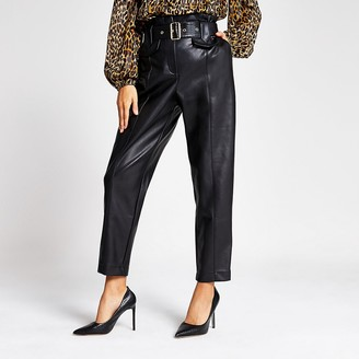 River Island Black faux leather high waist belted trousers