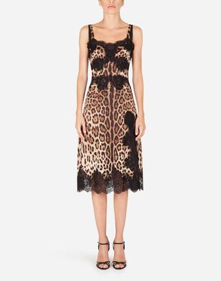 Dolce & Gabbana Leopard-Print Satin Slip Dress