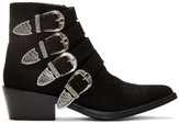 Toga Pulla Black Suede Four-buckle Western Boots