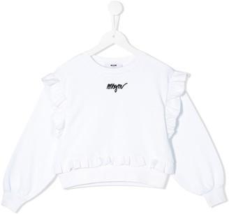 MSGM Kids ruffle-trimmed cotton sweatshirt