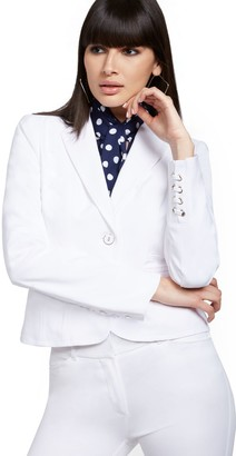 New York & Co. Petite Lace-Up Cuff Two-Button Jacket - All-Season Stretch - 7th Avenue