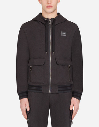 Dolce & Gabbana Zip-Up Jersey Hoodie With Plate