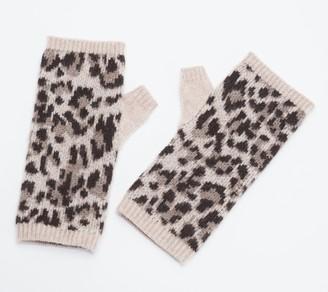 Isaac Mizrahi Live! 2-Ply Cashmere Fingerless Leopard Gloves