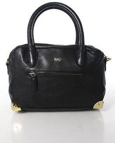 Be & D Black Leather Embossed Animal Skin Panel Gold Hardware Satchel Handbag