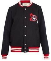 MAISON KITSUNÉ Badge-appliqué bi-colour wool bomber jacket