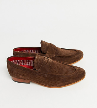 Base London Wide Fit Fleming embossed loafers in brown suede
