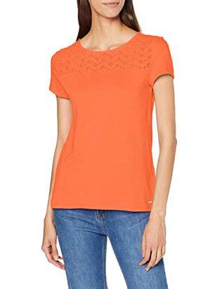 Tom Tailor Women's T-Shirt Mit Lochmuster Dazed Red 11650, (Size: XX-Large)