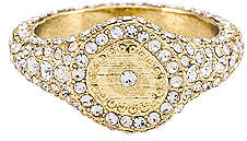 Luv Aj Pave Coin Signet Ring