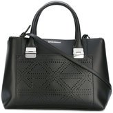 Emporio Armani perforated trim tote bag - women - Cotton/Calf Leather - One Size